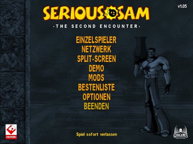 Serious Sam: The Second Encounter Windows Main menu