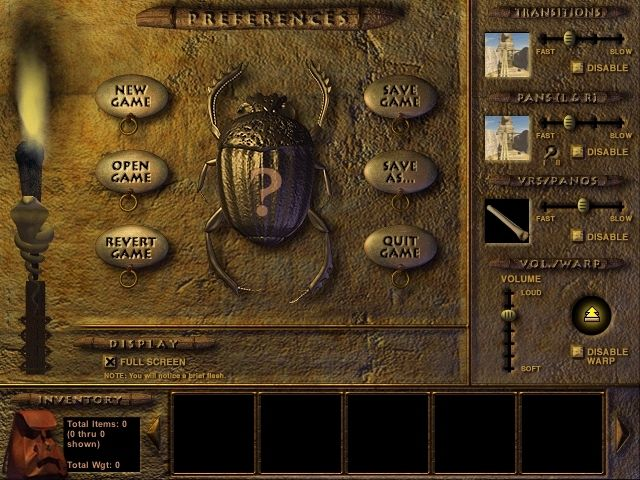 Riddle of the Sphinx: An Egyptian Adventure Windows All options, settings and inventory are accessed from one screen by pressing the Spacebar