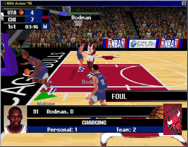 NBA Action 98 Windows Bad boy Dennis Rodman is whistled for the foul (window)