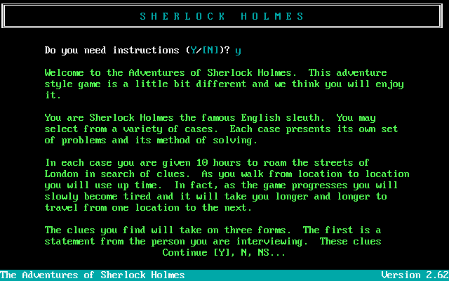 The Adventures of Sherlock Holmes DOS Introduction to the game