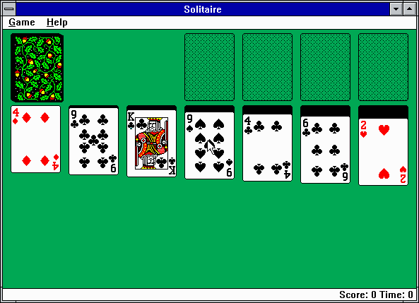 Microsoft Solitaire Windows 3.x Starting with a fresh deal (EGA).