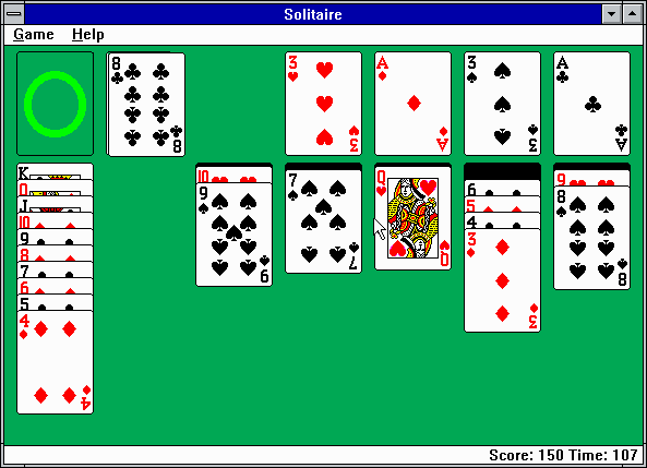 Microsoft Solitaire Windows 3.x After playing for a while (EGA).