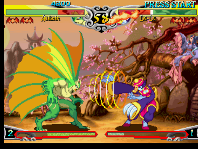 Darkstalkers 3 PlayStation Aulbath (Rikuo) gets to hit-paralyze Lei-Lei (Hsien-Ko) with the mid-range of his Sonic Wave attack.