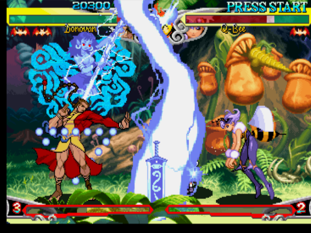 "Darkstalkers 3 PlayStation Through his lightning-based move ""Kill Shred: Thunder"", Donovan attempts to hit Q-Bee, but he fails."