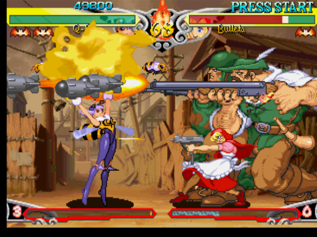 "Darkstalkers 3 PlayStation Even during Bulleta's (B.B. Hood's) EX Move Cool Hunting execution, Q-Bee uses her ""Qj"" EX Attack..."