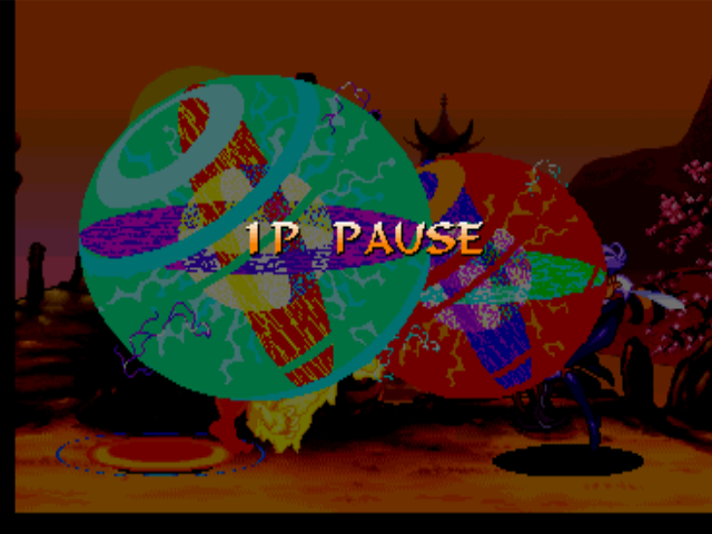 Darkstalkers 3 PlayStation To avoid be hit-damaged by Pyron's EX Move Cosmo Disruption, Q-Bee assumes her defensive position.