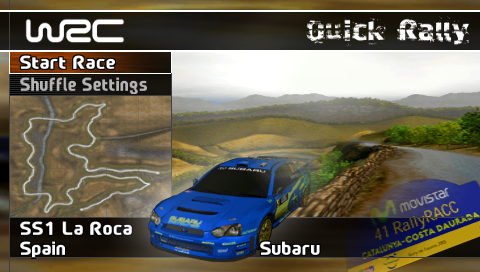 WRC PSP Quick Rally mode