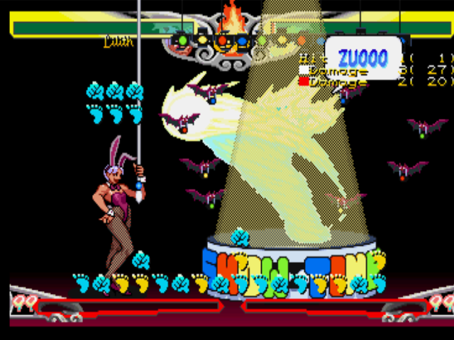 Darkstalkers 3 PlayStation Training session battle with Lilith performing successfully her EX Move Gloomy Puppet Show in Pyron.