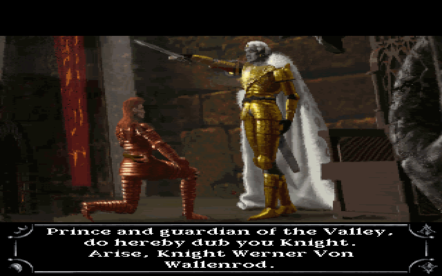 Dragon Lore II: The Heart of the Dragon Man DOS Intro - Main character being knighted.