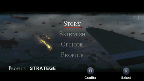 Brothers in Arms: D-Day PSP Main menu