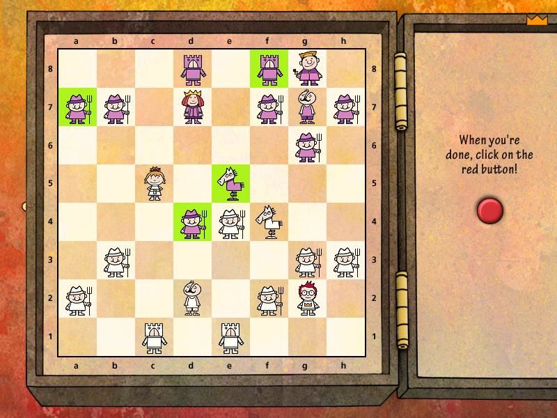 Learn to Play Chess with Fritz & Chesster 2: Chess in the Black Castle Windows Time for the white queen to make her move.