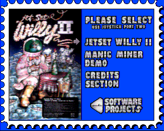 Jet Set Willy II: The Final Frontier Amiga Start menu