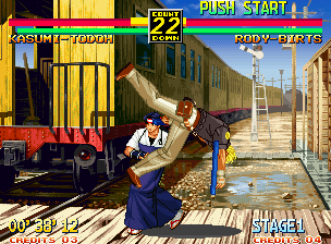 Art of Fighting 3: The Path of The Warrior Neo Geo Every character can intercept any normal, non-aerial attacks and throw their opponent to the ground by press A+B and holding the stick towards your character's back at the same time.