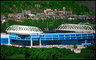 4D Sports Tennis DOS Tournament matches are preceded by pictures of the stadiums. (VGA)
