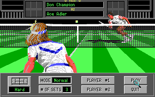 4D Sports Tennis DOS Exhibition menu (EGA)