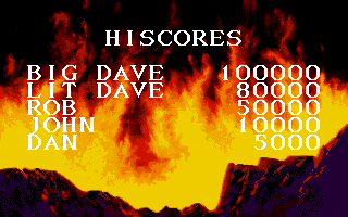 Myth: History in the Making Amiga High-score table