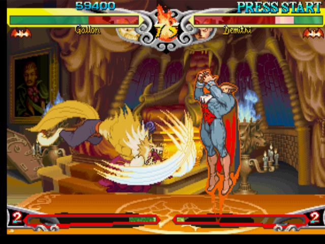 Darkstalkers 3 PlayStation Demitri aims to jump over Gallon (John Talbain), that attempts a defensive-claw-based counterattack.