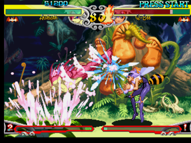Darkstalkers 3 PlayStation Thanks to his spinning attack Tricky Fish, Aulbath (Rikuo) successfully hit-damages Q-Bee once more!