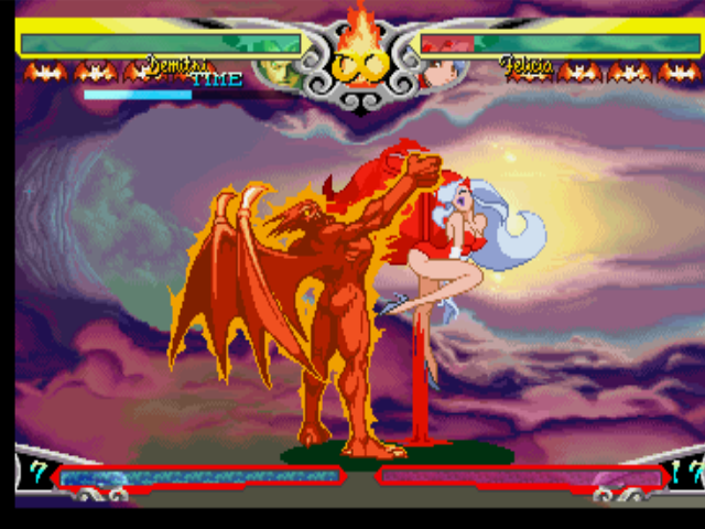 Darkstalkers 3 PlayStation Using his EX Move Midnight Bliss, Demitri grabs Felicia successfully and starts to blood-injury her.