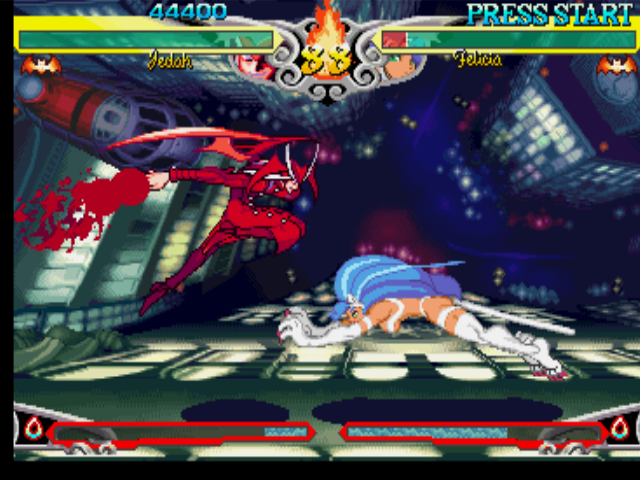 Darkstalkers 3 PlayStation Felicia aims to strike back Jedah, but unfortunately, he escapes using the range of his Flying Dash.
