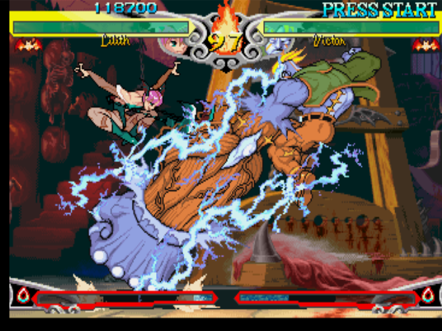 Darkstalkers 3 PlayStation Victor Von Gerdenheim performs his move Mega Fist against Lilith, but she jumps on time to avoid it.
