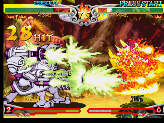 Darkstalkers 3 PlayStation Phobos (Huitzil) takes advantage of Pyron's open guard and performs his EX Attack Final Guardian B.