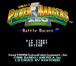 Saban's Power Rangers Zeo: Battle Racers SNES Title screen / Main menu.
