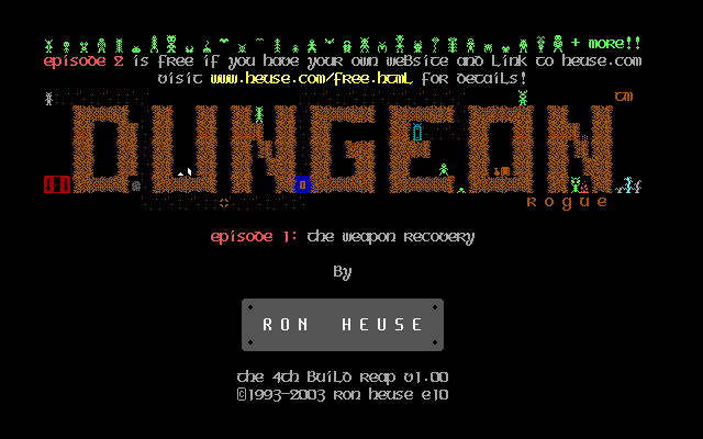 Reaping the Dungeon DOS Title screen, 4th build (Dungeon Rogue), shareware version (episode 1).