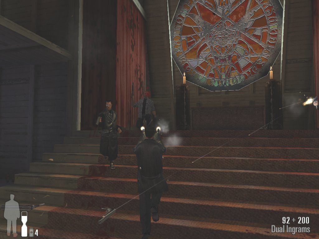 Max Payne Windows End of Chapter 1 boss fight with satanist screwball Jack Lupino and his Trenchcoat minions