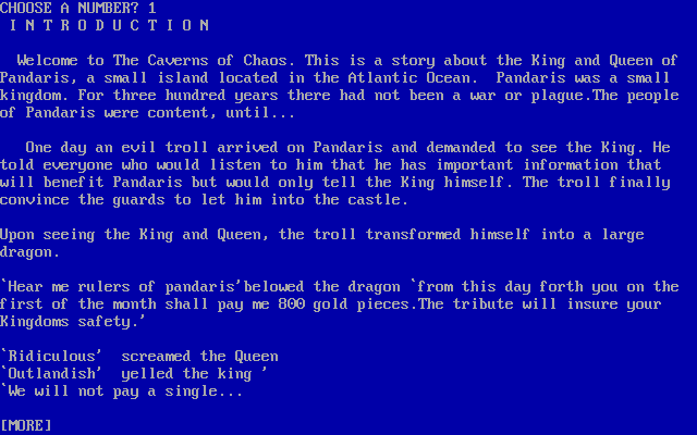 Caverns of Chaos DOS Introduction (Z-code)