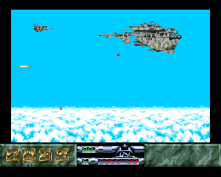 Carcharodon: White Sharks Amiga High over the clouds, I'm battling the level 1 boss.