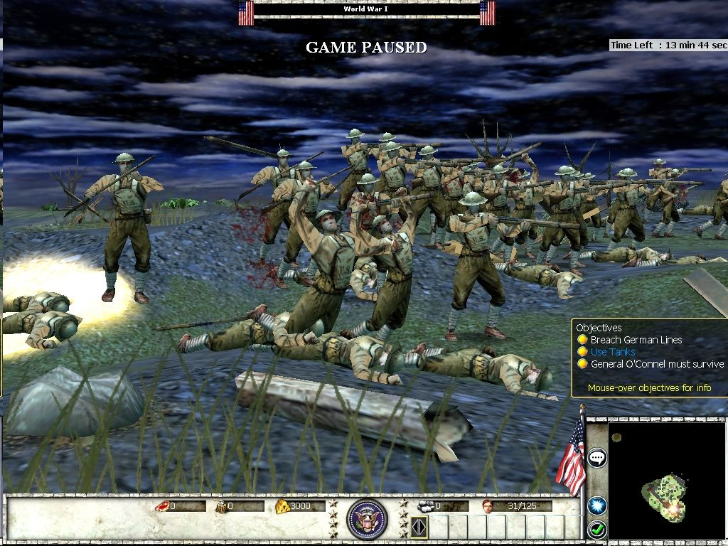 Empires: Dawn of the Modern World Windows WW I - U.S. Troops charge No Man's Land.