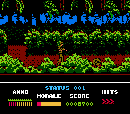 Platoon NES You've found the bag of explosives, you must set it in the bridges that give access to a FNL village.