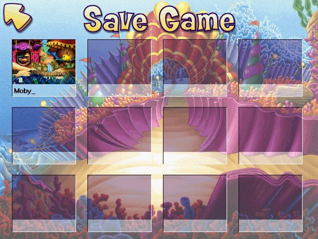Freddi Fish 5: The Case of the Creature of Coral Cove Windows The savegame screen, lots of room!
