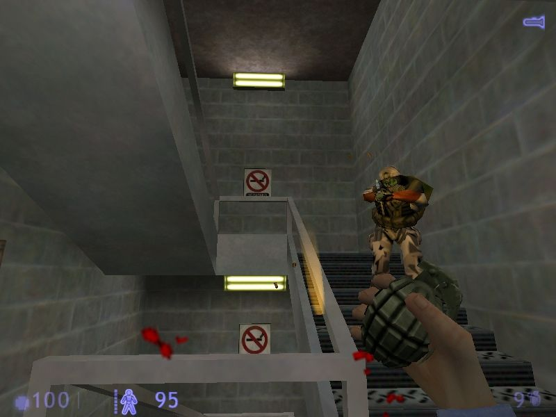 Half-Life: Blue Shift Windows Having a bomb at close range, this is called having the wrong weapon at the wrong time.