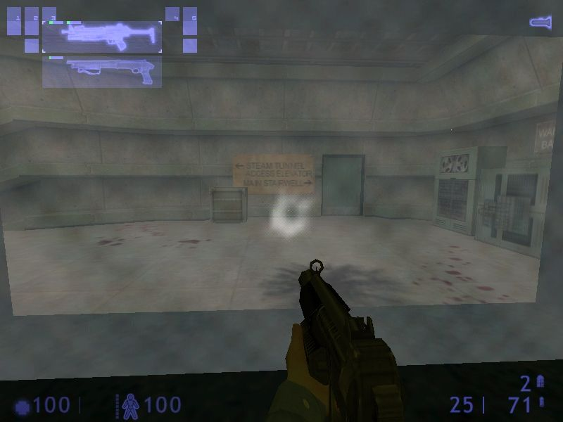 Half-Life: Blue Shift Windows Behind the bulletproof glass is where someone should change or reload weapons.