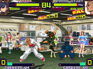 Shin Gōketsuji Ichizoku Tōkon: Matrimelee Neo Geo Hikaru attempts to hit-injury Buntaro with her move Leap Crush, but he escaped from being damaged...