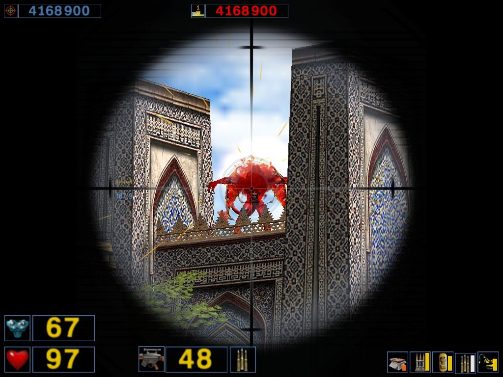Serious Sam: The Second Encounter Windows ...that's why your 16mm Raptor sniper rifle has an 8X scope.  Headshot!