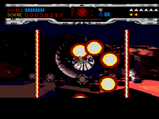 Novastorm SEGA CD Unleashing a barrage of crude round sprites at the second mid-boss.