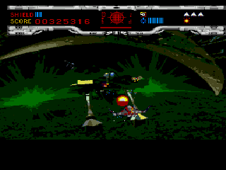 Novastorm SEGA CD Fighting a giant mech.