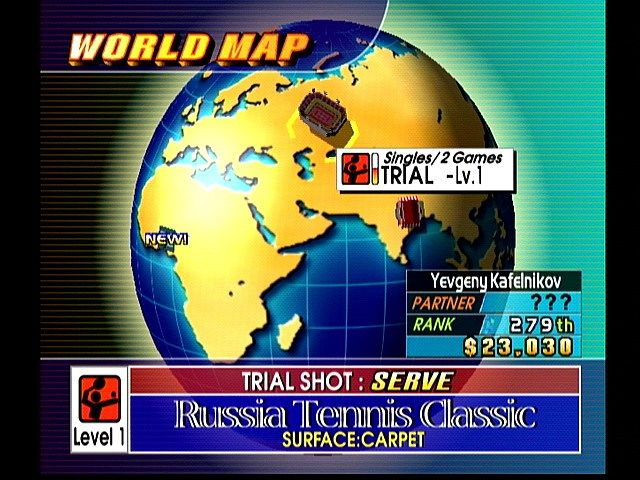 Virtua Tennis Dreamcast World Map