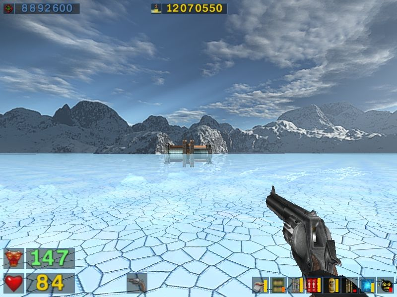 Serious Sam: The Second Encounter Windows HUGE levels!  The Ice Palace as seen from 2 miles away...