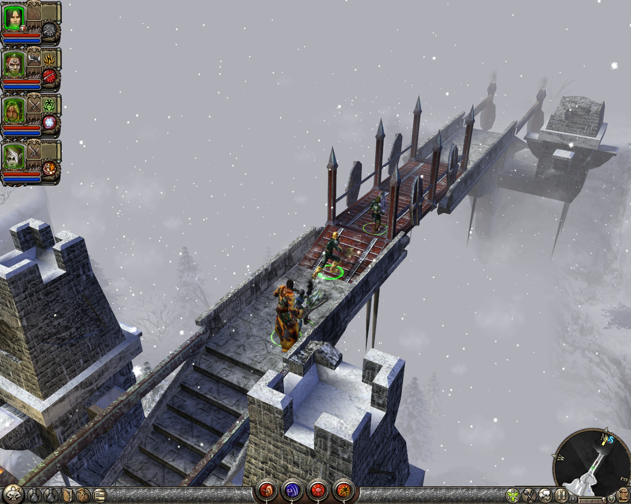 Dungeon Siege II Windows Crossing a long bridge during a snowstorm.