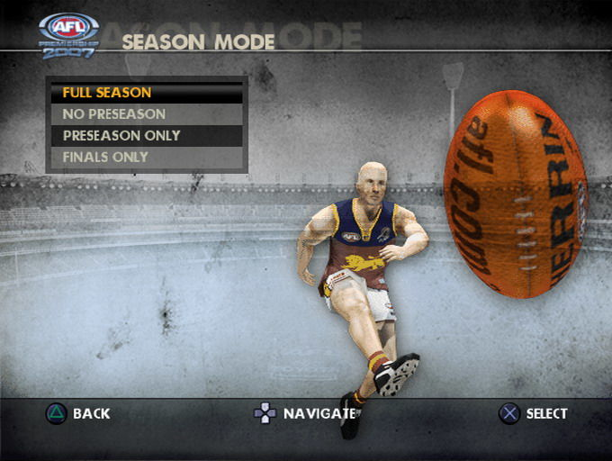 AFL Premiership 2007 PlayStation 2 Season mode selection