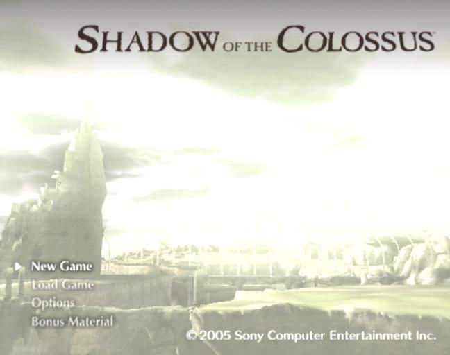 Shadow of the Colossus PlayStation 2 Title screen