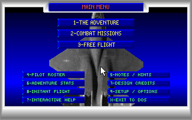 JetFighter II: Advanced Tactical Fighter DOS Main menu