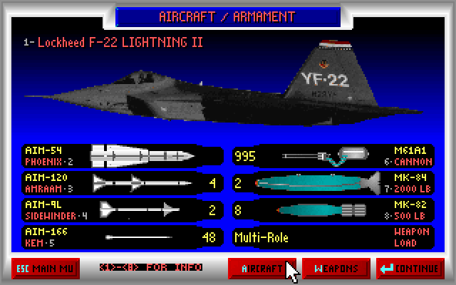 JetFighter II: Advanced Tactical Fighter DOS Airplane / armament screen