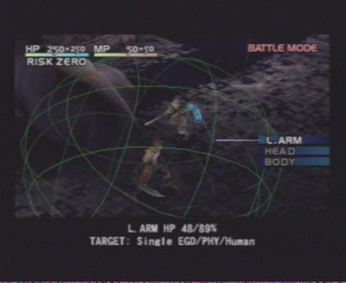 "Vagrant Story PlayStation Fighting is a bit similar to <moby game=""Parasite Eve"">Parasite Eve</moby>, where you see the radius your weapon can reach."