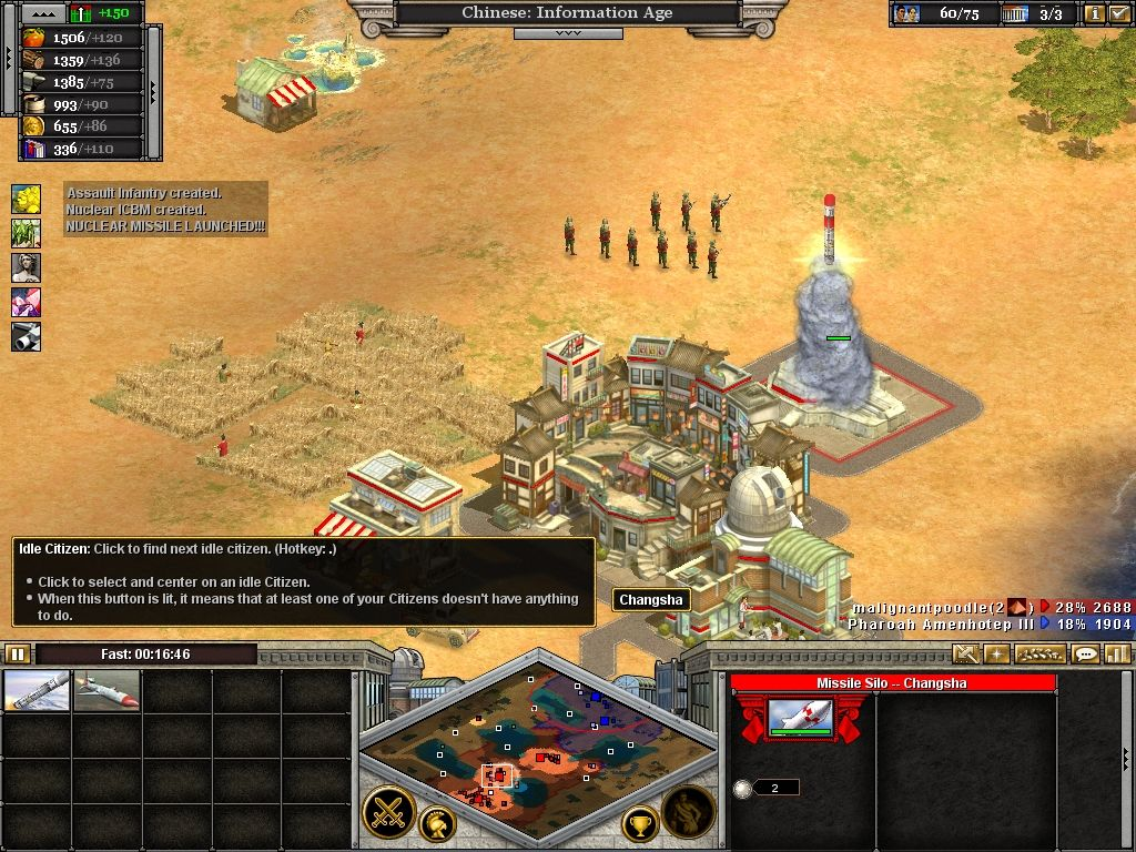 Rise of Nations: Thrones & Patriots Windows Launching a nuclear weapon.