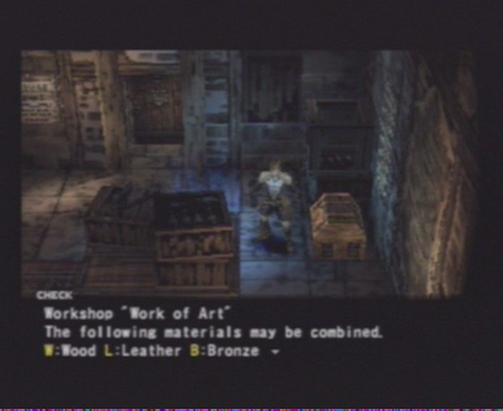 Vagrant Story PlayStation Only in workshops can you assemble and dismantle weapons and shields, and repair stuff.